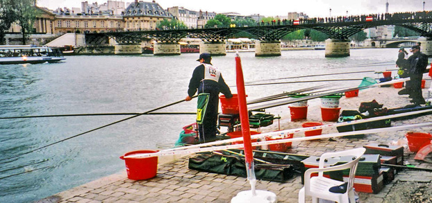 Jean Desque fishing the Seine during the 2001 World Championships in Paris.