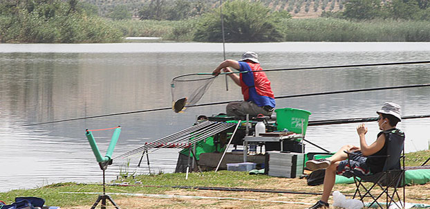 Frenchman Jerome Vasseur netting a good fish. The one he lost at the end would have seen him 'rocket' up the order to at least a respectable 4th or 5th place!