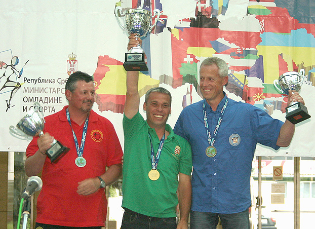 European Champion, Szilárd Szilvási, is flanked by two of Europe's finest anglers, Eric de Venti of Belgium (Silver) and Alan Dewimille of France (Bronze).