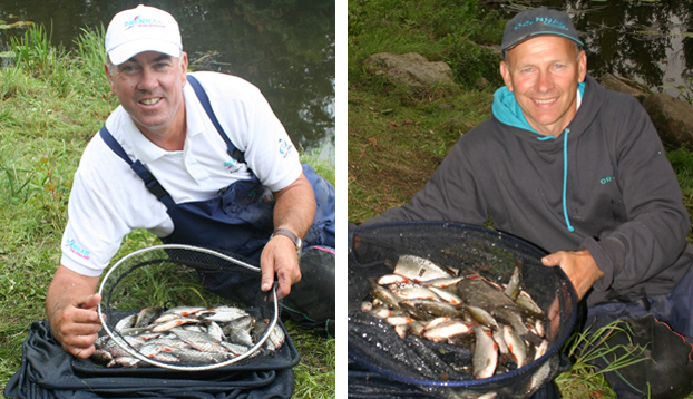 England duo Alan Scotthorne and Steve Hemingray with their day one catches from sections D and B respectively. Steve's weight of 4.020 kilos was the heaviest along all the four sections from B to E.