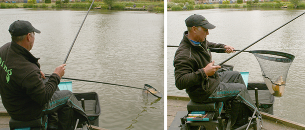 It was quite easy in the end to play and net this small carp.